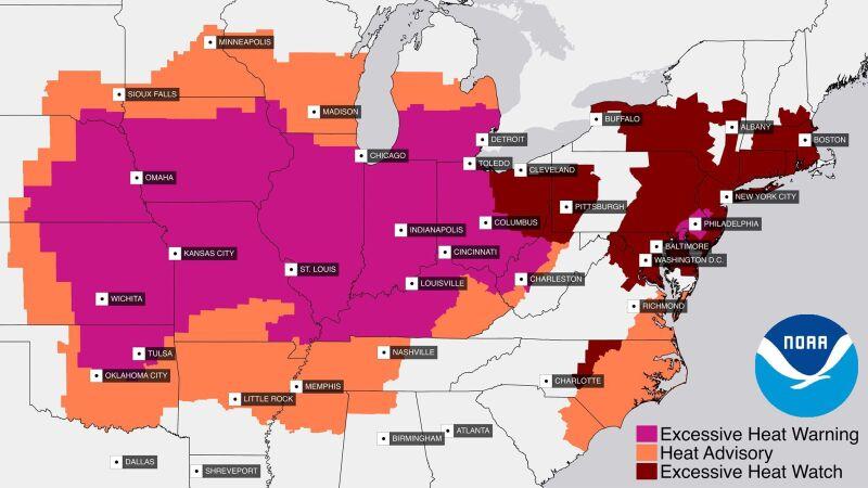 Ostrzeżenia przed upałem w Stanach Zjednoczonych (NOAA)