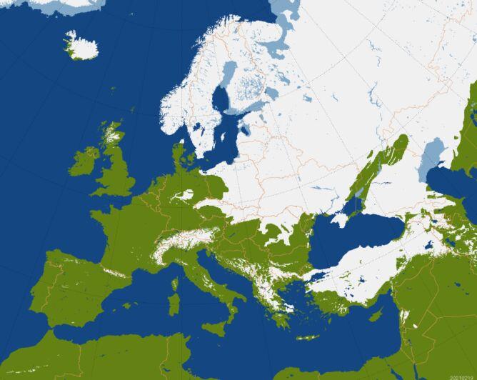 Pokrywa śnieżna w Europie, stan na 19.02.2021 (Centrum Badań Kosmicznych PAN)