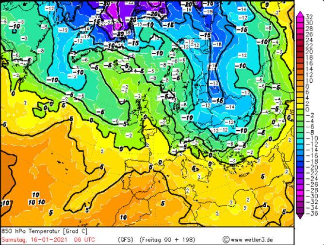 Prognozowana temperatura w piątek 16 stycznia na wysokości 1,5 kilometra według modelu GFS/wetter3.de