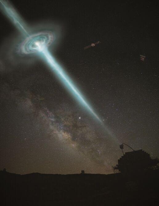 Błysk GRB 190114C i obserwatorium Magic (Gabriel Pérez Díaz/IAC)